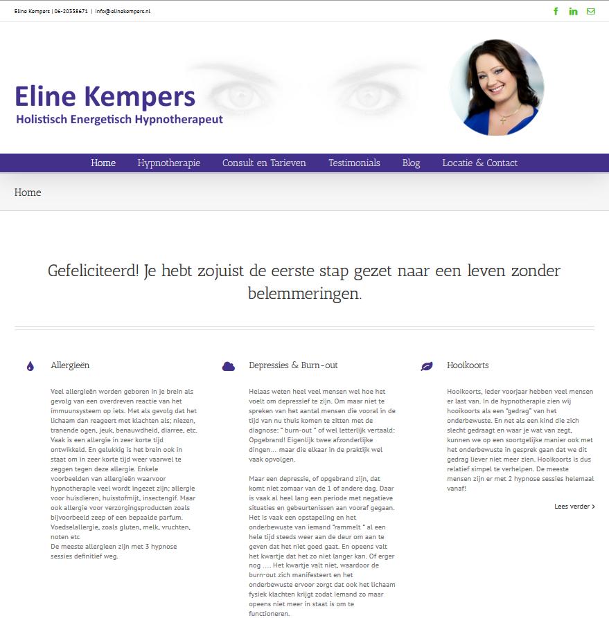 Nieuwe website Praktijk voor Hypnotherapie Eline Kempers
